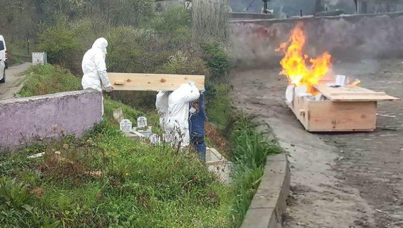 Koronavirüs sebebiyle hayatını kaybeden kişinin tabutu yakıldı