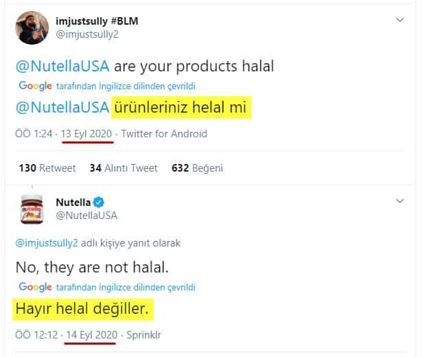 Nutella Resmi Twitter Hesabındaki Diyalog